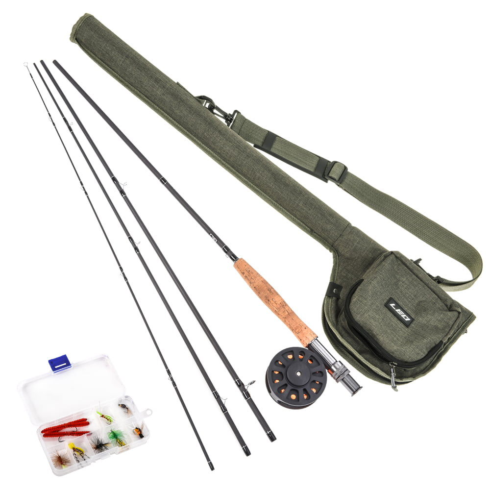 9 Fly Fishing Rod And Reel Combo With Carry Bag 10 Flies Complete Starter Package Fly Fishing Kit Walmart Com Walmart Com
