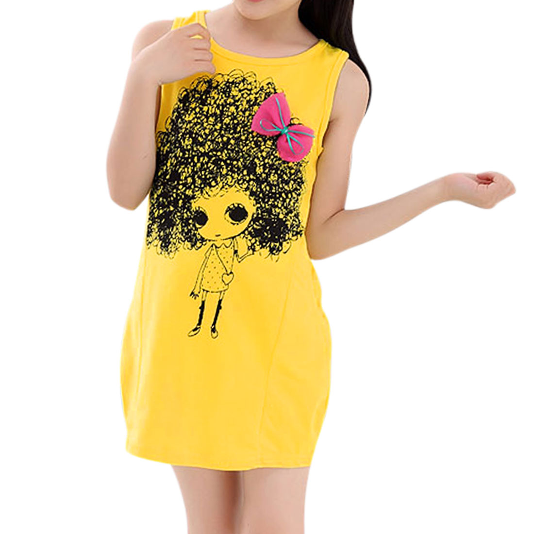 Girls Portrait Print Bowknot Decor Casual Dress Allegra Kids Yellow 4T