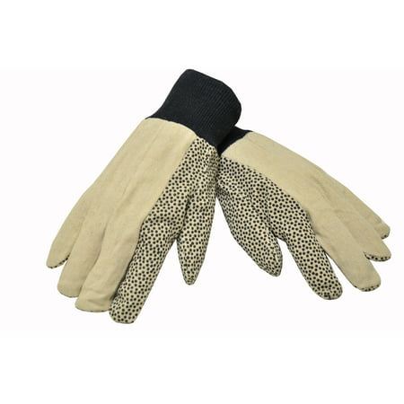 - G & F 7488 12 oz Cotton Canvas Work Gloves coated with PVC Dots on Palm and idex finger, Men\'s size