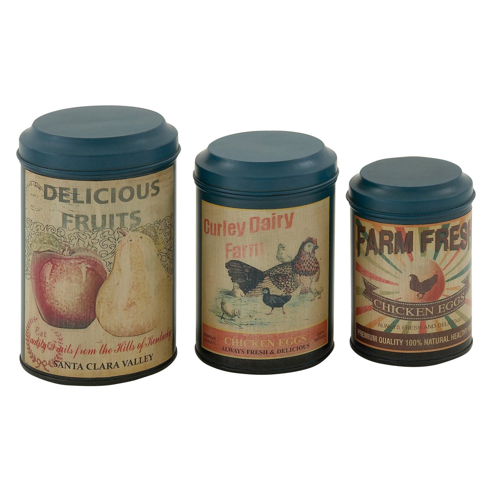 aspire galvanized metal 3 piece decorative jar set walmart com