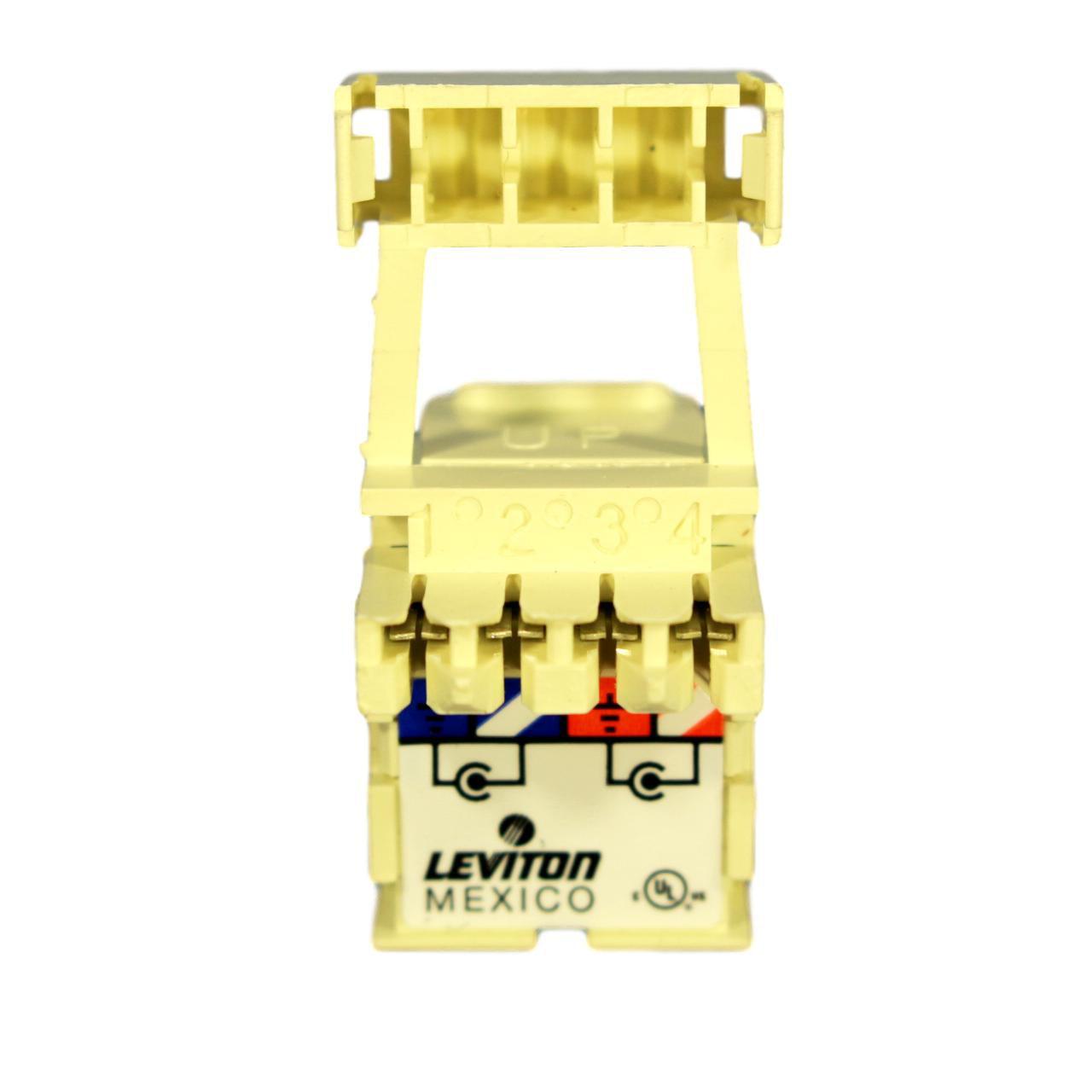 Leviton Quickport Almond RCA Stereo Audio Gold Jack White Strip Barrel 40735-RWA