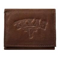 Texas Longhorns NCAA Embossed Logo Dark Brown Leather Trifold Wallet