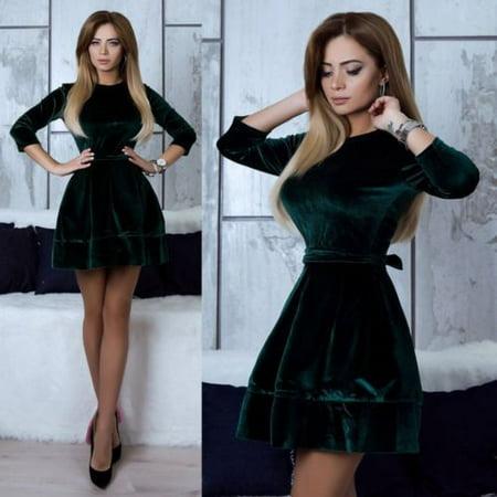 5b93a21138c9 UKAP - Women Retro Velvet Dress 2018 Korean Style Autumn Winter Party  Dresses Casual Elegant Mini Dress With Belt Asian size - Walmart.com