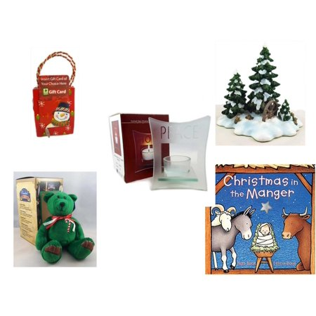 """Christmas Fun Gift Bundle [5 Piece] - Musical Gift Card Holder Snowman - Dept. 56 Village Accessory Wagonwheel Pine Grove - Etched Glass """"Peace"""" Window Votive  - Limited Treasures  Edition Green Can"""