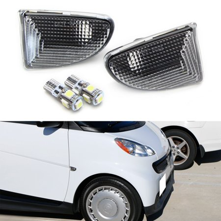 (iJDMTOY A Pair LH RH OEM-Spec Dark Clear Lens Front Side Marker Lamps w/ Xenon White Canbus W5W LED Bulbs For 2007-2015 Smart Car Fortwo)