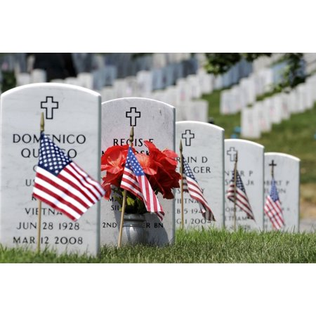 Monument Headstone - May 30 2011 - American flags placed in the front of headstones at Arlington National Cemetery on Memorial Day Poster Print