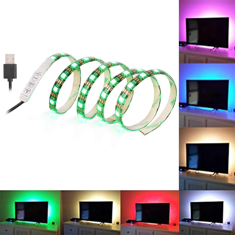 1M 60LEDs TV LED Strip Light USB Port SMD 5050 RGB Color Changing Light Kit Black  sc 1 st  Walmart & 1M 60LEDs TV LED Strip Light USB Port SMD 5050 RGB Color Changing ...