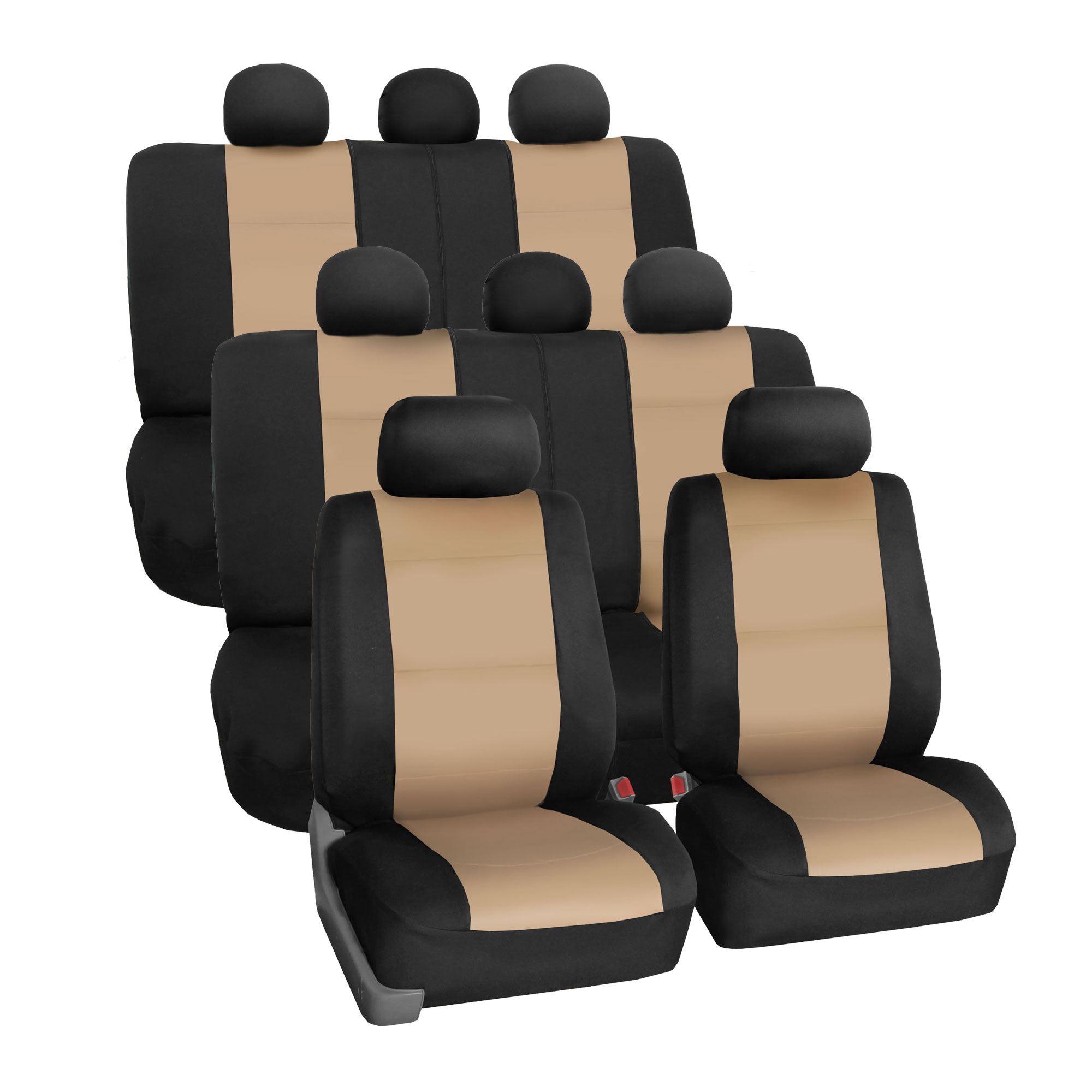 Neoprene 3 Row Car Seat Covers For SUV VAN TRUCK, Airbag Compatible Split Bench 8 Seaters, Beige Black