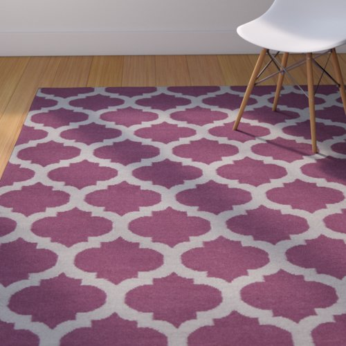 Zoomie Kids Hackbarth Hand-Woven Raspberry Wine/Gray Area Rug
