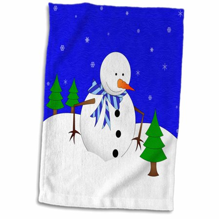 3dRose Cute Holiday Snowman and Baby Pine Tree Blue - Towel, 15 by 22-inch