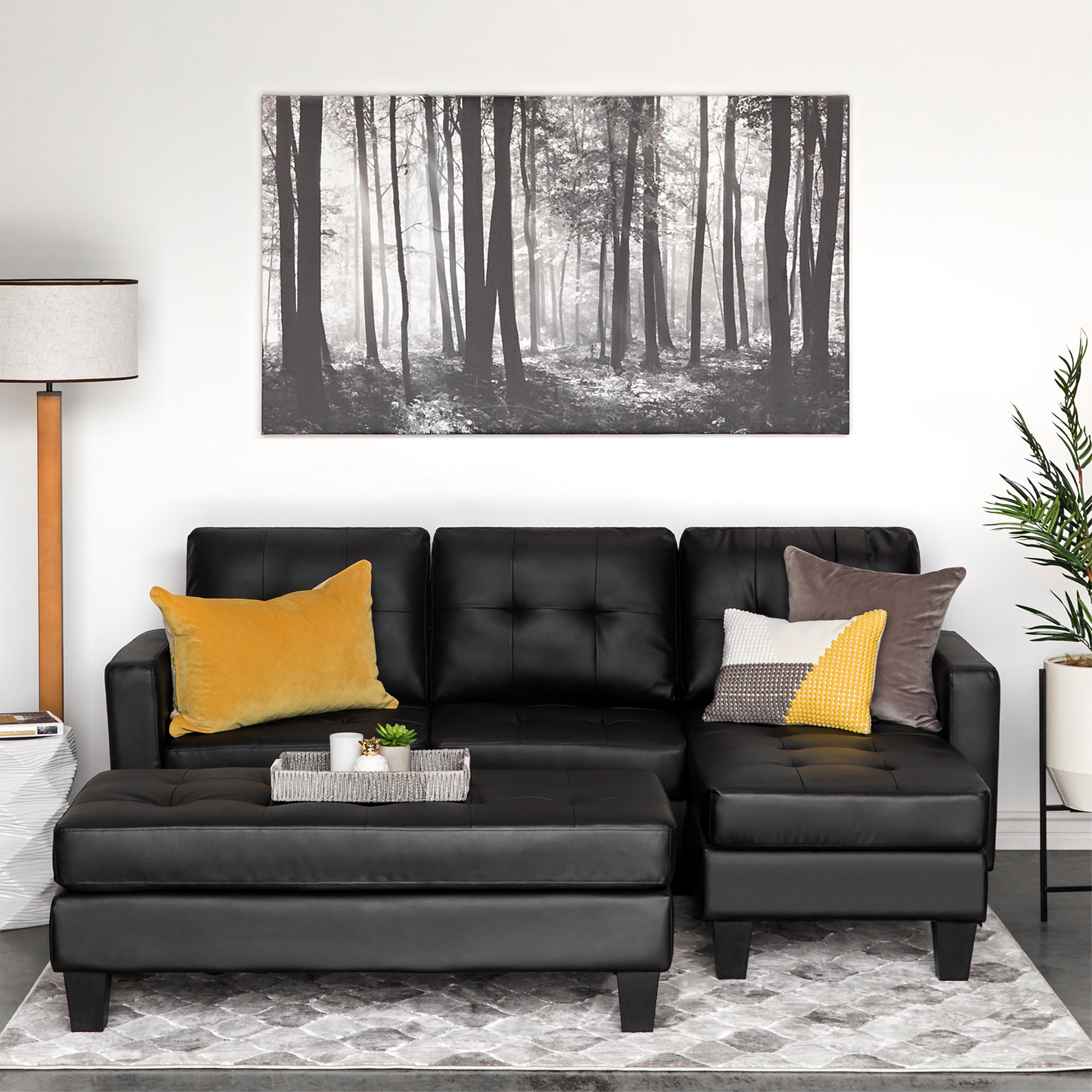 Swell Details About Leather Small Space Black Sectional Sofa Couch Set 3 Seater W Chaise Ottoman Alphanode Cool Chair Designs And Ideas Alphanodeonline