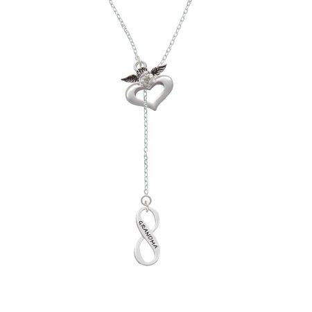 Grandma Infinity Sign   Guardian Angel Lariat Necklace