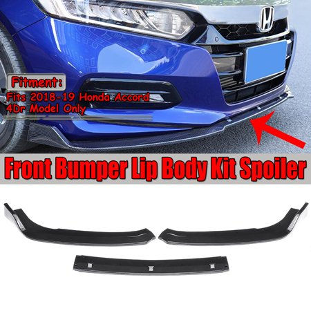 3pcs Front Bumper Lip Body Kit Spoiler Carbon Fiber Look For Honda Accord 2018 2019 (Instruction Not