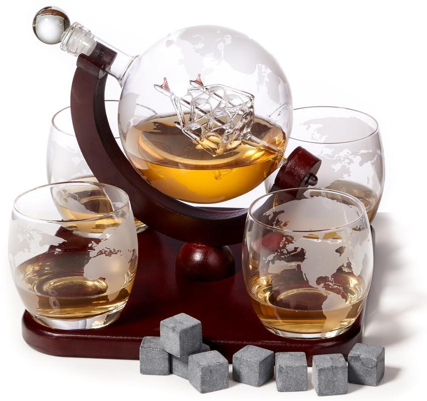 Elegant Whiskey Decanter Set - Etched Globe Design with 4 Glasses on Tray - Impressive Bar Set