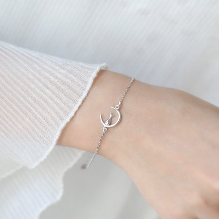 Moderna Cute Cat Moon Bracelet Jewelry Women Chains Party Club Cocktail Bangle - Cat Bangles