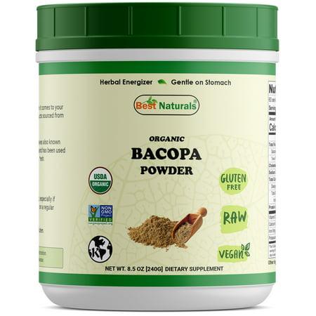 Best Naturals Certified Organic Bacopa Powder 8.5 OZ (240 Gram), Bacopa monniera, Non-GMO Project Verified & USDA Certified