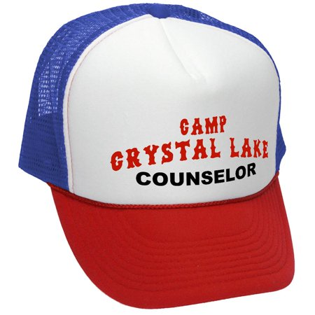 - CRYSTAL LAKE COUNSELOR - funny 80s horror movie - Mesh Trucker Hat Cap, R-W-B