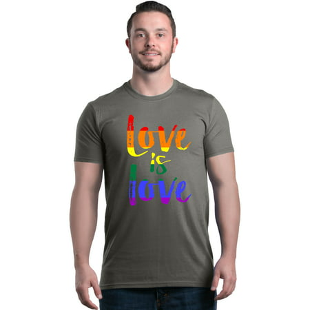 Shop4Ever Men's Love is Love Rainbow Gay Pride Graphic T-shirt