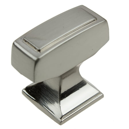 GlideRite 1-1/8 in. Transition Style Rectangle Cabinet Knob, Satin Nickel, Pack of 25