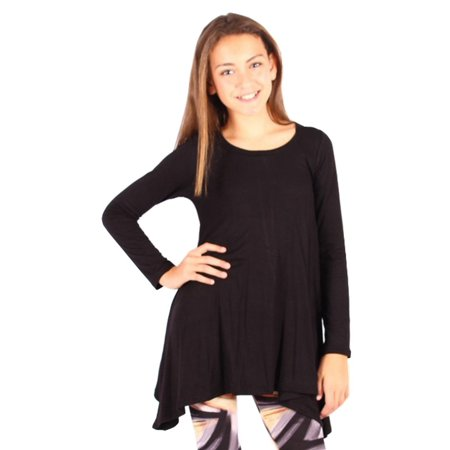 Lori&Jane Girls Black Solid Color Long Sleeved Trendy Tunic Top