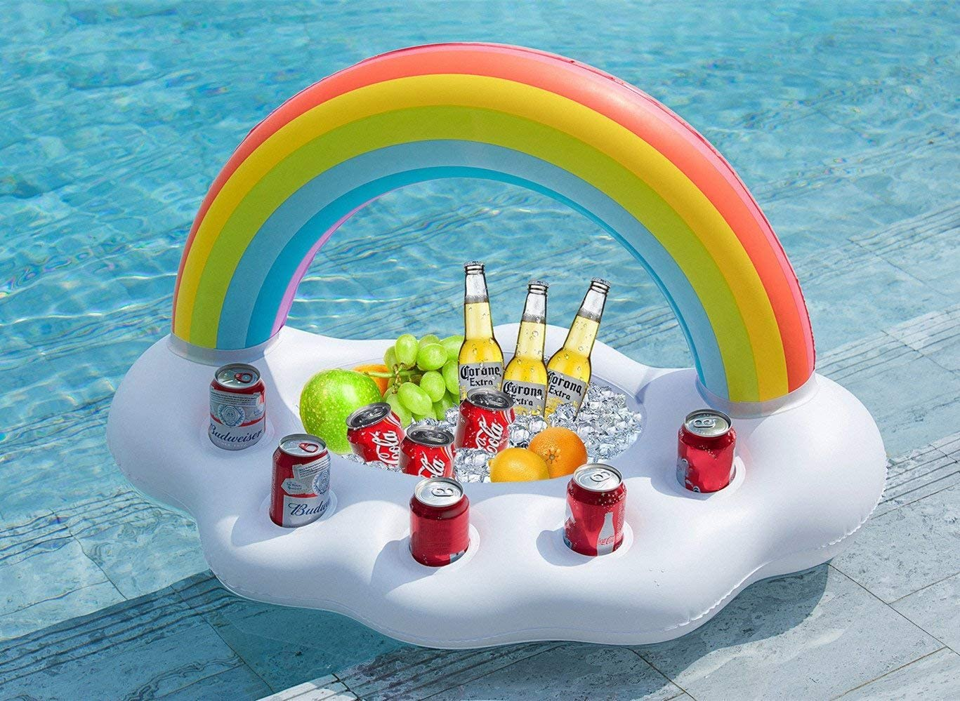 EDOBLUE Inflatable Rainbow Cloud Drink Holder Floating Beverage Salad Fruit Serving Bar Pool Float Party Accessories Summer Beach Leisure Cup Bottle Holder Water Fun Decorations Toys Kids Adults
