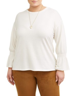 40454d73eb7 Product Image Women s Plus Size Shimmering Smock Top with Foil Trim