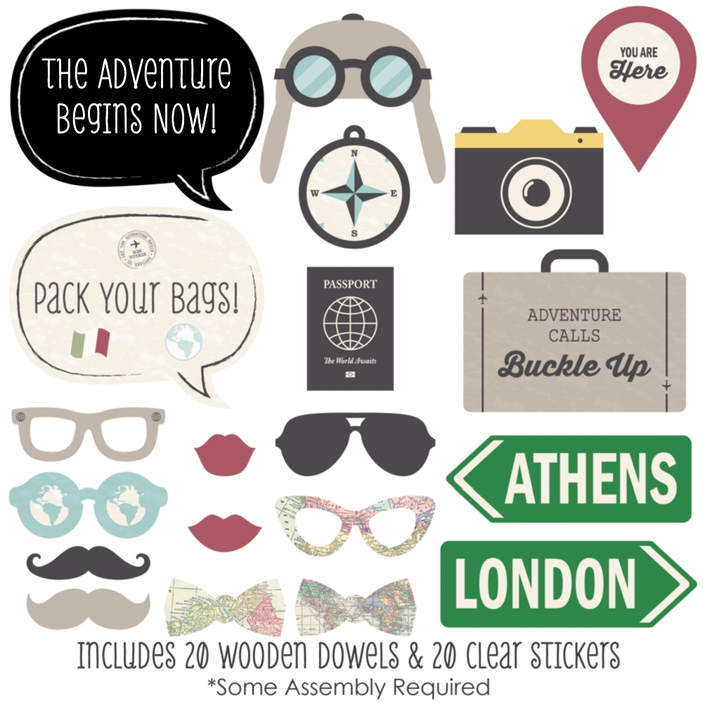 World Awaits Travel Party Photo Booth Props Kit 20 Count
