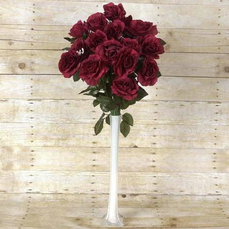 96 Artificial Silk Open Roses Wedding Flower Vase Centerpiece Decor
