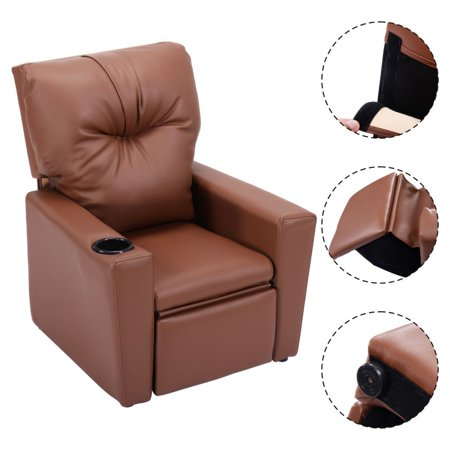 Goplus Kids Sofa Manual Recliner Leather Ergonomic Lounge w/Cup Holder Children Gift