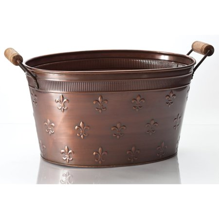 "KINDWER Large 22"" Copper Fleur de Lis Oval Tub - 22x12x10"""