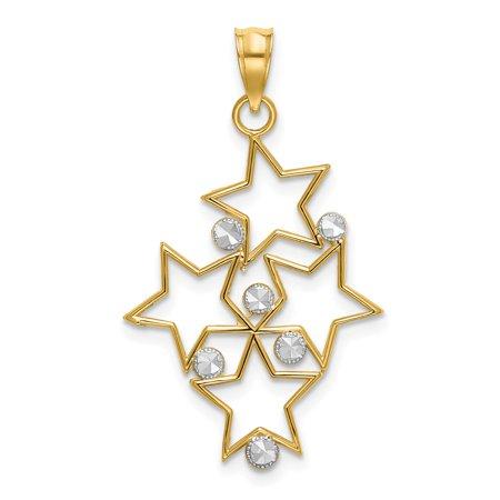 Star Cluster Pendant (14K Yellow Gold w/Rhodium-plated Diamond-cut Star Cluster Charm Pendant)