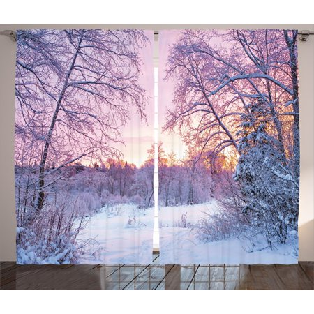 Winter Window (Landscape Curtains 2 Panels Set, Winter Season Themed Dried Abandoned Braches Snowy Sunset Scenery Image, Window Drapes for Living Room Bedroom, 108W X 84L Inches, Lavander Lilac White, by Ambesonne)