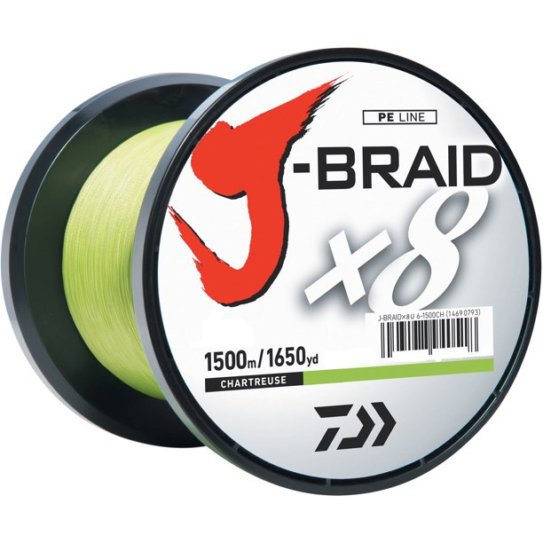 Daiwa J Braid X8 Braided Fishing Line Chartreuse 8lb 1650yd 1500m Bulk Spool Jb8u8 1500ch