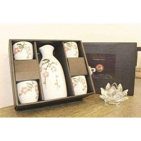 Smiling Juju Porcelain Japanese Sakura Flower Sake Set 4 Cups 1 Decanter / Bottle / Carafe -D