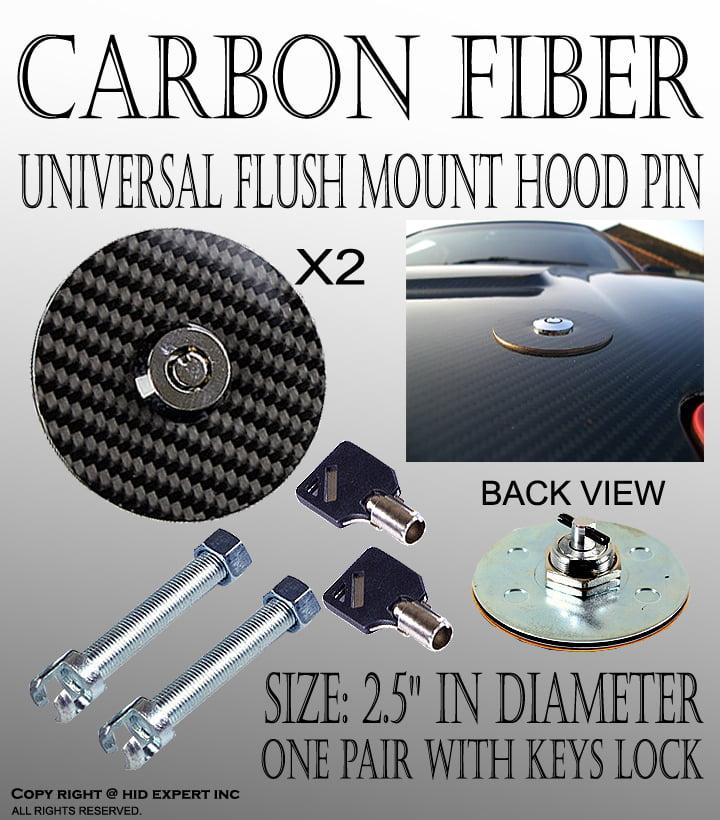 Flush Locking Hood Latch Kit,Racing Car Carbon Fiber Style Hood Pin Bonnet Plus Flush Mount latch Kit Lock