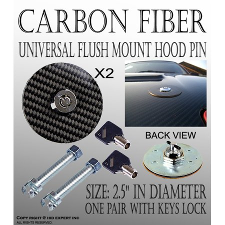 UNIVERSAL RACING Mount Bonnet Carbon Fiber Hood Latch Pin Key Locking Kit ()