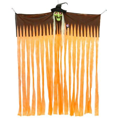 Halloween Haunters Hangin Doorway Curtain with Witch Head and Light-Up Eyes - Prop Decoration](Halloween Doorway)