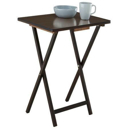 Mainstays Walnut 5 Piece Folding Tv Tray Table Set 4
