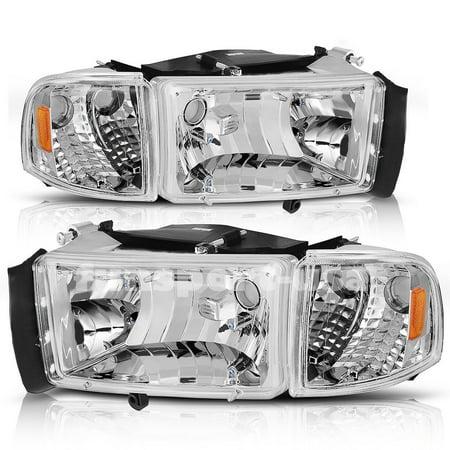 For 94-01 Dodge Ram 1500/94-02 Dodge Ram 2500 3500 Headlight Assembly Chrome Housing + Corner Lights (Driver and Passenger Side)