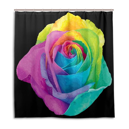 POPCreation Rainbow Rose Shower Curtain Waterproof Bathroom 66x72 Inches