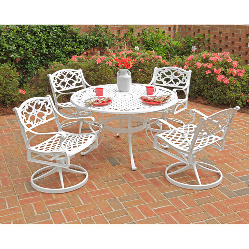 Home Styles Biscayne 5pc Outdoor Dining Set with Swivel Chairs, White