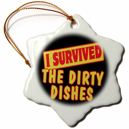 3dRose I Survived The Dirty Dishes Survial Pride And Humor Design, Snowflake Ornament, Porcelain, 3-inch (Snowflake Dishes)
