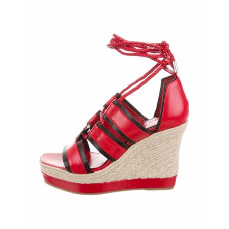 Alexander Mcqueen Espadrille Wedge Ankle Wrap Sandal Red Leather & Black Size 9M
