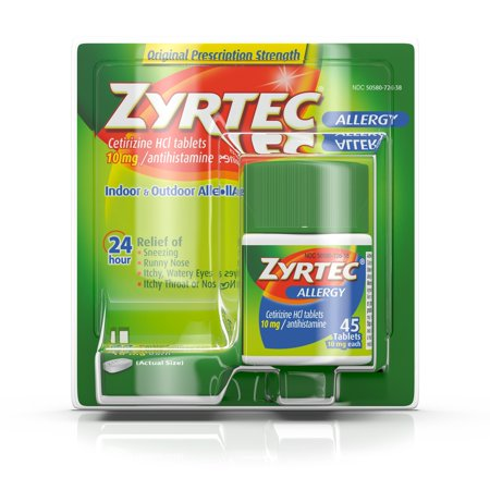 Zyrtec 24 Hour Allergy Relief Tablets with 10 mg Cetirizine HCl, 45