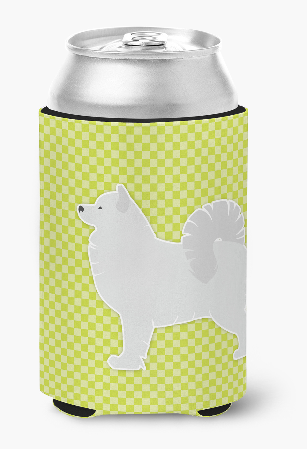 Samoyed Checkerboard Green Can or Bottle Hugger by Caroline's Treasures