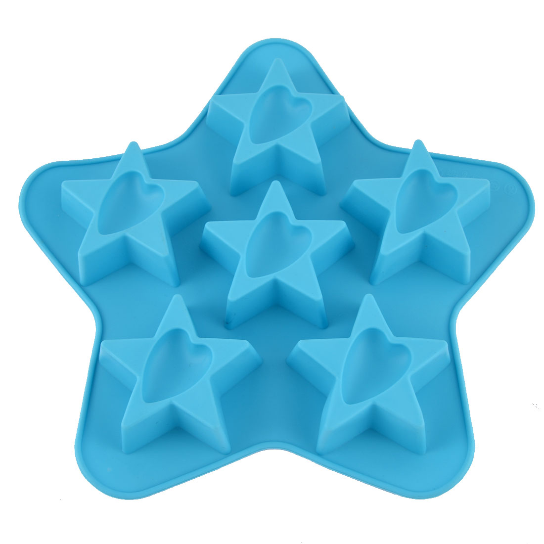 Silicone Pentastar Heart Shape Home Kitchen Bakeware Cake Baking Pan Mold Blue