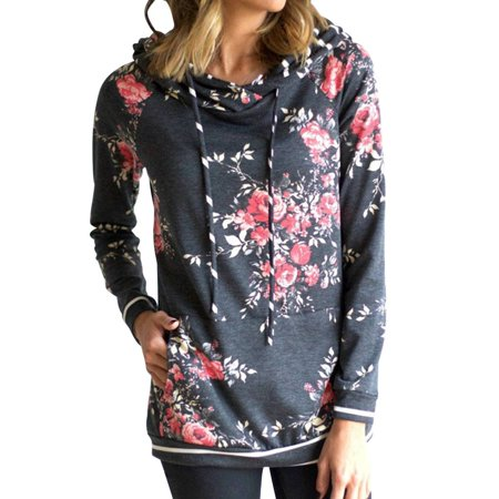 babydream1 Women Hooded Floral Printed Long Sleeve Pocket Drawstring Sweatshirt Top - image 6 of 7