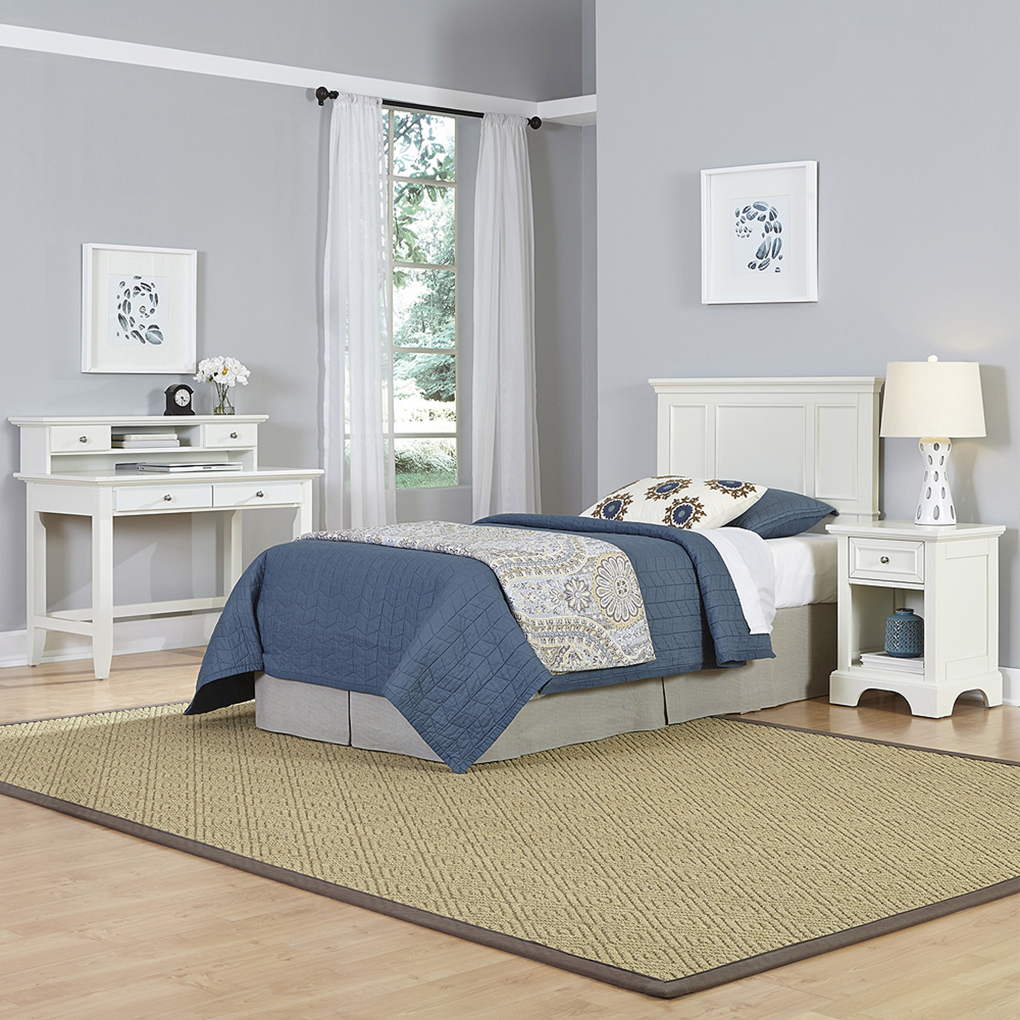 Home Styles Naples Twin Headboard, Night Stand and Student Desk with Hutch