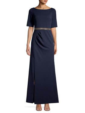 Embellished Waist Short-Sleeve Gown