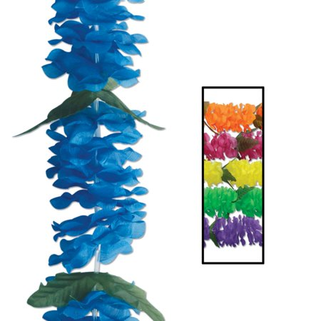 Pack of 12 Lush Colorful Big Island Floral Tropical Luau Party Lei Necklaces - Floral Leis